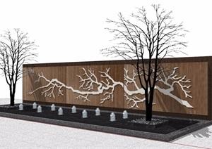园林景观新中式山水景墙SU(草图大师)模型