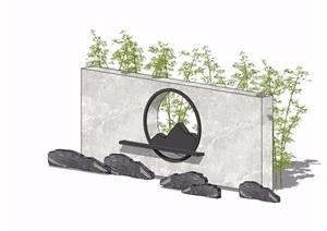 新中式景墙完整设计SU(草图大师)模型