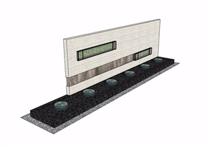 新中式山水景墙完整设计SU(草图大师)模型