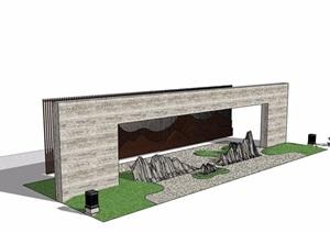 某详细的完整独特的景墙素材设计SU(草图大师)模型