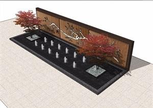 中式水池详细的景墙素材设计SU(草图大师)模型