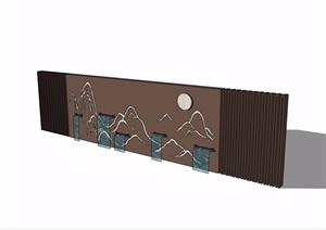新中式山水景墙完整详细设计SU(草图大师)模型