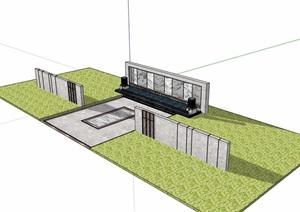 新中式山水景墙节点素材设计SU(草图大师)模型
