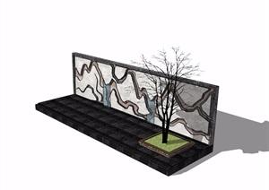 新中式整体节点山水景墙素材SU(草图大师)模型