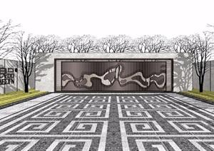 新中式山水景墙独特SU(草图大师)模型