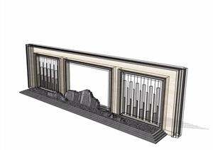 中式独特详细的完整景墙素材设计SU(草图大师)模型