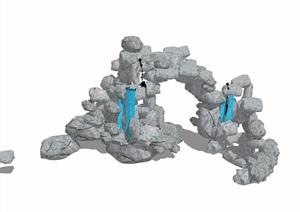 假山跌水景观素材设计SU(草图大师)模型