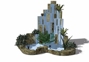 某庭院假山跌水素材设计SU(草图大师)模型