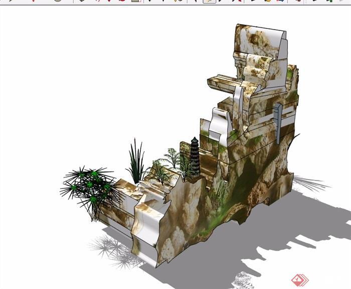 某详细的假山跌水素材设计su模型