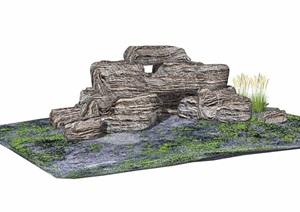 假山石头详细完整设计SU(草图大师)模型