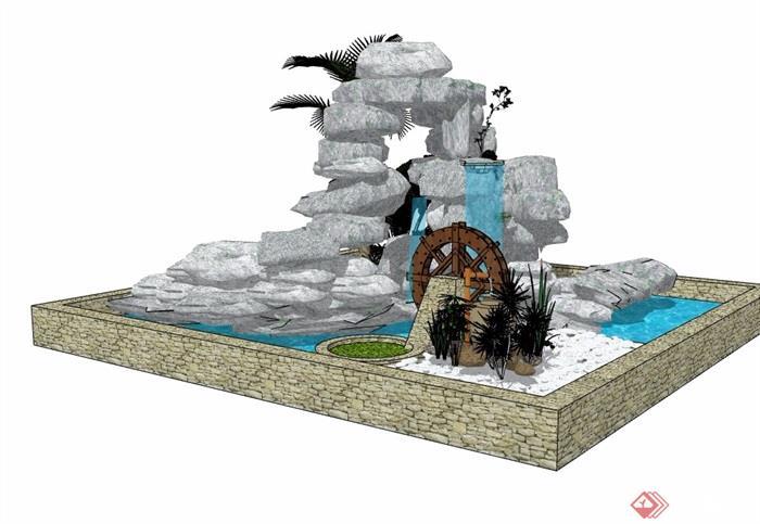 现代风格详细的假山水池素材设计su模型