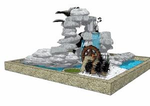 现代风格详细的假山水池素材设计SU(草图大师)模型