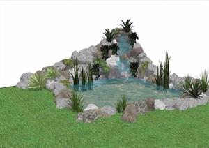假山跌水水池素材设计SU(草图大师)模型