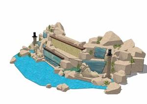 现代风格详细的完整假山跌水景观素材设计SU(草图大师)模型