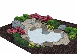 某园林景观详细的景石及水池素材设计SU(草图大师)模型