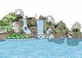 详细的完整现代假山跌水水景素材设计su模型