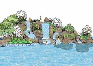 详细的完整现代假山跌水水景素材设计SU(草图大师)模型