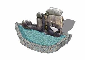 假山水池素材设计SU(草图大师)模型