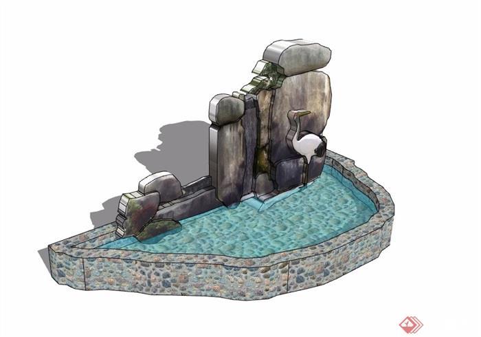 假山水池素材设计su模型