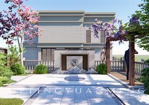 联排别墅端户花园设计SU(草图大师)模型
