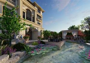独栋别墅花园设计SU(草图大师)模型