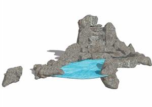 假山及水池景观素材设计SU(草图大师)模型