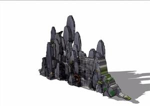 假山跌水素材设计SU(草图大师)模型