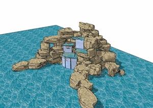详细的完整假山跌水景观素材设计SU(草图大师)模型
