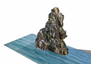 详细的完整假山石头素材设计SU(草图大师)模型