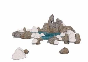 造景假山水池素材设计SU(草图大师)模型