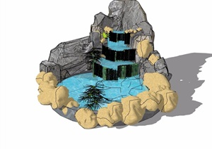 详细的完整的假山跌水素材设计SU(草图大师)模型