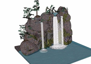 详细的完整假山跌水素材设计SU(草图大师)模型