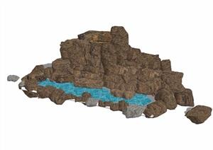 详细的完整假山水池素材设计SU(草图大师)模型