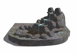 假山石头跌水素材设计SU(草图大师)模型