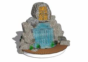 假山节点跌水素材设计SU(草图大师)模型