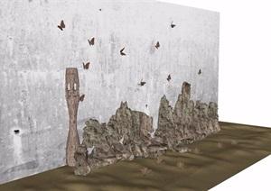 详细的整体假山石头素材设计SU(草图大师)模型
