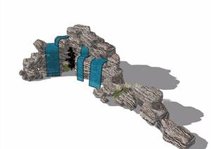 详细的假山石头素材设计SU(草图大师)模型