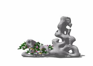 中式假山景石素材设计SU(草图大师)模型