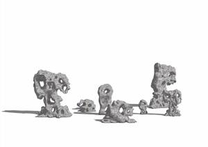 中式景石素材设计SU(草图大师)模型