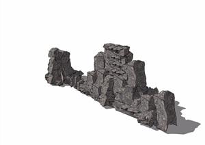 中式详细的景石素材设计SU(草图大师)模型