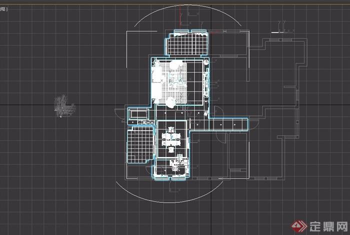 详细的整体客餐厅室内3d模型