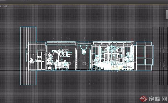 简约风格详细的室内客餐厅装饰3d模型