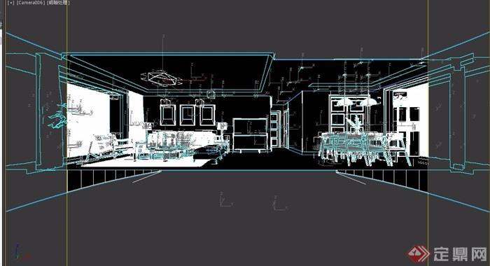 简约现代风格室内客厅餐厅装饰设计3d模型
