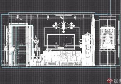 简约现代风格整体室内客厅装饰3d模型