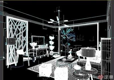 简约风格整体住宅室内客厅装饰3d模型