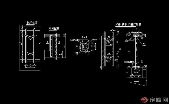 园林景观节点栏杆柱设计cad施工图