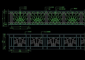 圍墻欄桿設計cad立面圖