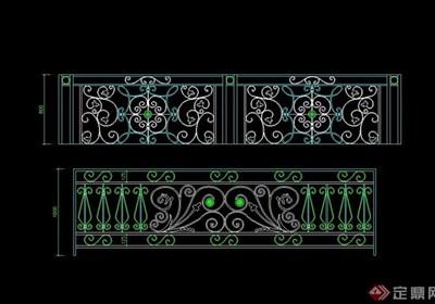欧式风格花纹栏杆设计cad立面图