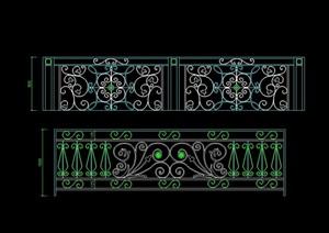 歐式風格花紋欄桿設計cad立面圖