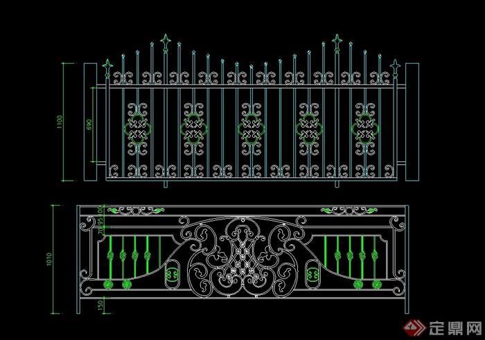 欧式两个铁艺围墙栏杆素材设计cad方案